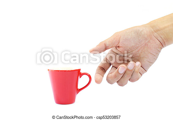 Man hand and coffee red cup on white backgrounds - csp53203857
