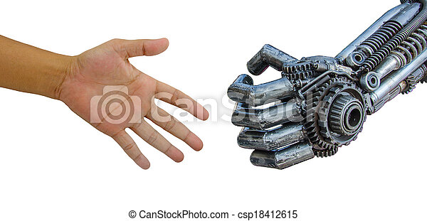 man hand  handshake with cy-ber robot isolated on white background. - csp18412615