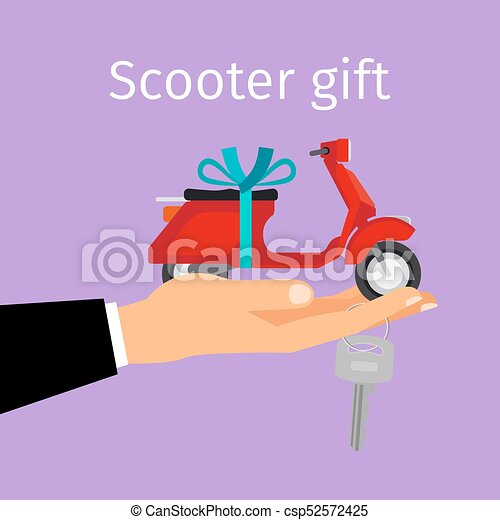 Man hand holding gift scooter - csp52572425