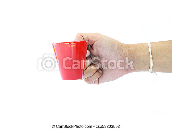 Man hand holding small coffee red cup on white backgrounds - csp53203852