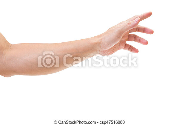 Man hand isolated on white background, clipping path - csp47516080