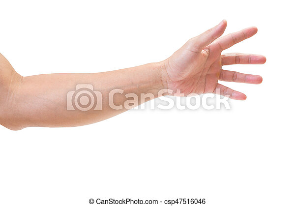 Man hand isolated on white background, clipping path - csp47516046