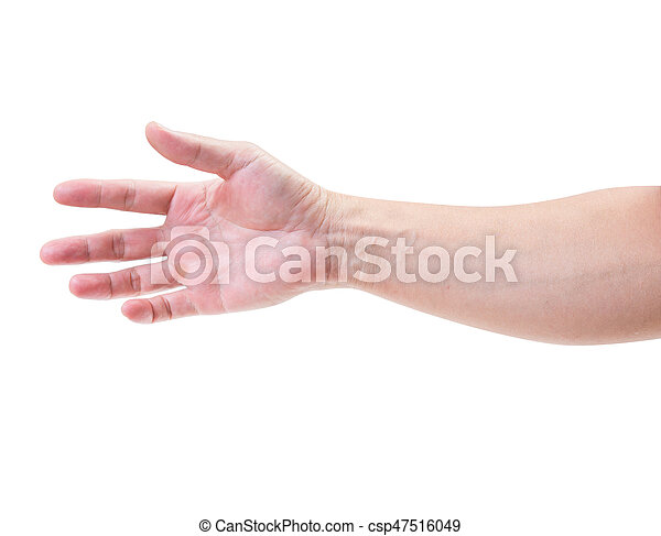 Man hand isolated on white background, clipping path - csp47516049
