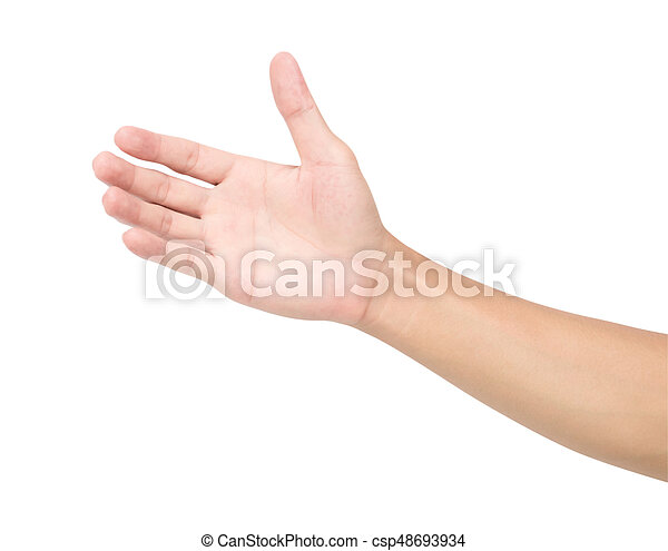 Man hand isolated on white background with clipping path, health care and medical concept - csp48693934