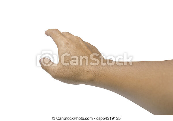 Man hand isolated on white - don't leave me - csp54319135