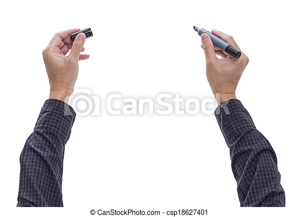 Man hand with pen isolated on white background, clipping path - csp18627401