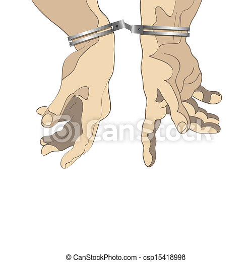 Man hands with handcuffs - csp15418998