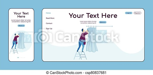 Man hanging curtains adaptive landing page flat color vector template. Household repair mobile and PC homepage layout. Repairman one page website UI. Home repairs webpage cross platform design - csp80837681