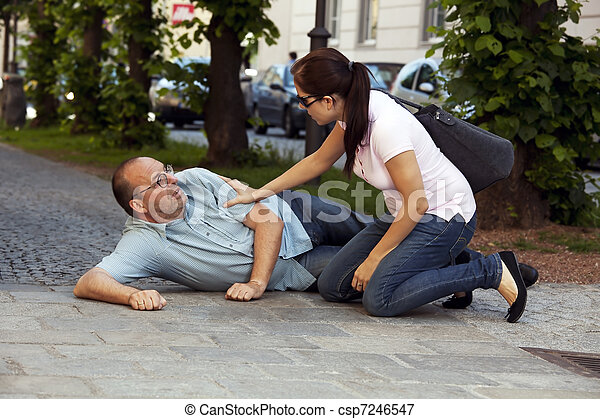 Man has heart attack or stroke - csp7246547