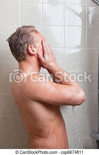 Mature having a shower