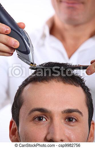 Man having an haircut - csp9982756