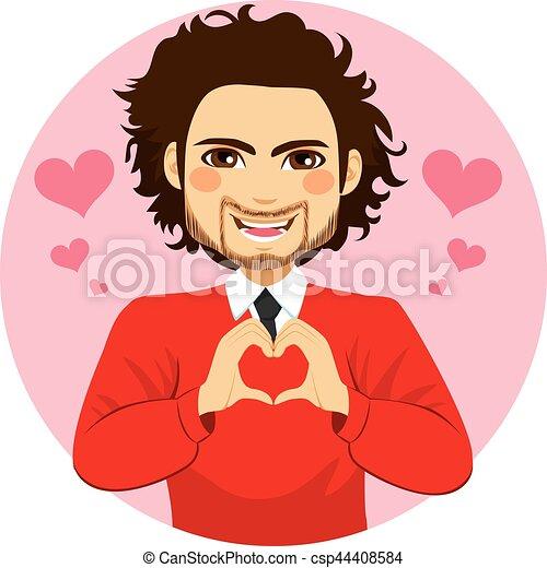 Man Heart Shape Symbol Hands - csp44408584