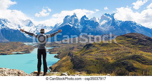 man hiking in patagonia - csp35037917