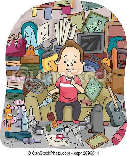Man Hoarding Stockpile Illustration Of A Satisfied Man