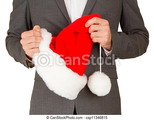man, hoedje, zakelijk, kerstman - csp11346815