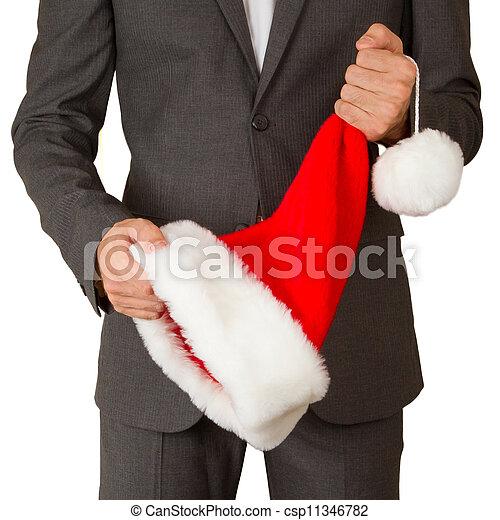 man, hoedje, zakelijk, kerstman - csp11346782
