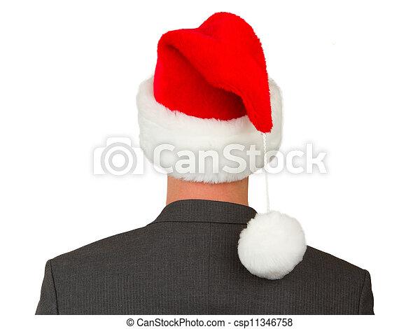 man, hoedje, zakelijk, kerstman - csp11346758
