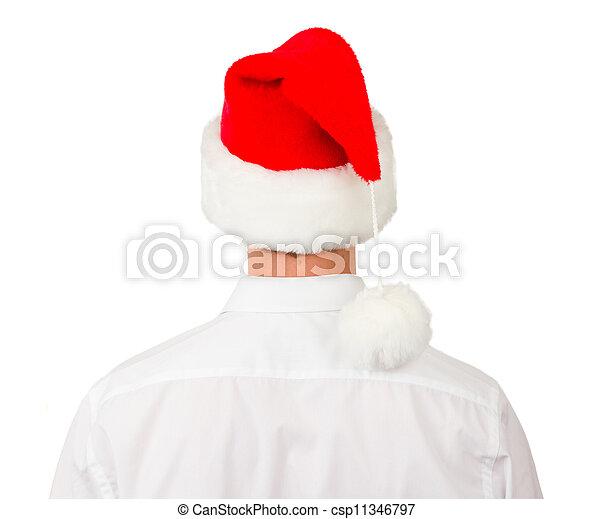 man, hoedje, zakelijk, kerstman - csp11346797