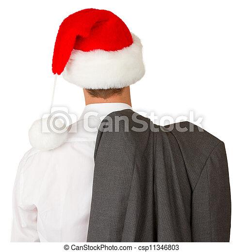 man, hoedje, zakelijk, kerstman - csp11346803