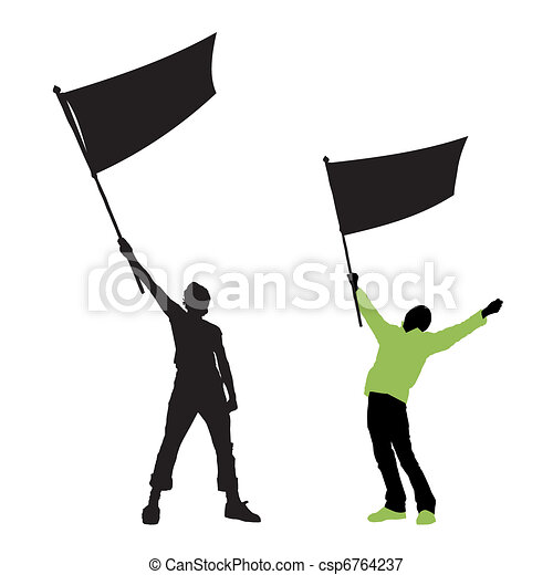 man holding a blank flag - csp6764237