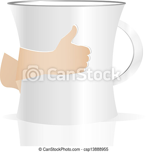 Man holding a cup of coffee, isolated on white - csp13888955