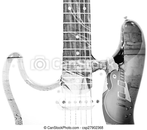 man holding a guitar and guitar silhouette in double exposure in bw - csp27902368