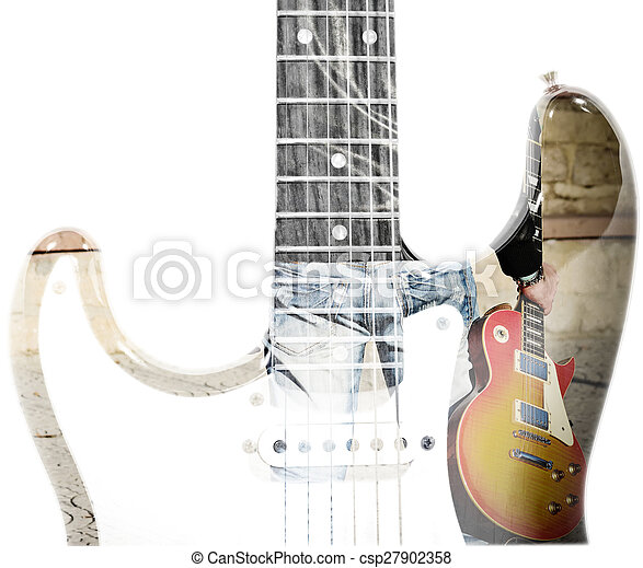 Back view of a man holding a guitar and guitar silhouette in man holding a guitar and guitar silhouette in double exposure csp27902358 sciox Gallery