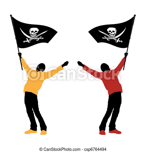 man holding a pirate flag vector illustration eps vector search rh canstockphoto co uk