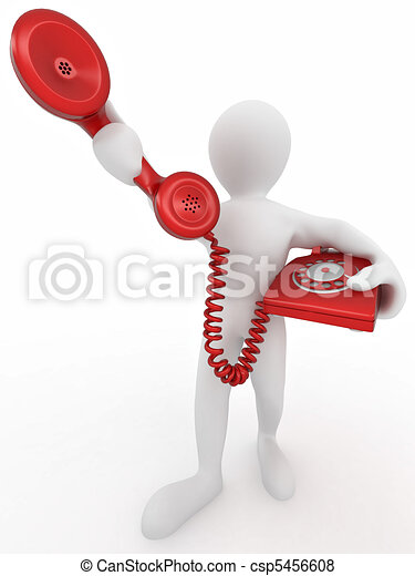 Man holding a telephone receiver - csp5456608