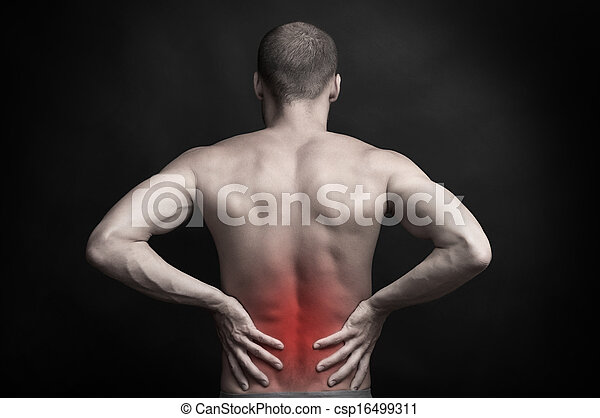 man holding aching back with hands - csp16499311