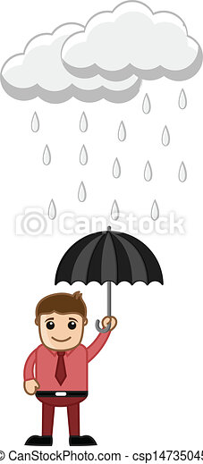 Man Holding an Umbrella in Rain - csp14735045