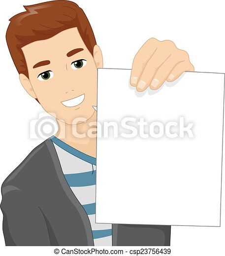 Man Holding Blank Paper - csp23756439
