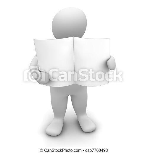 Man holding blank paper or newspaper. 3d rendered illustration. - csp7760498