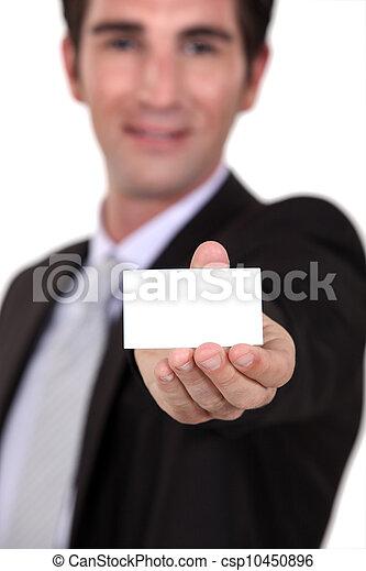 Man holding business card - csp10450896