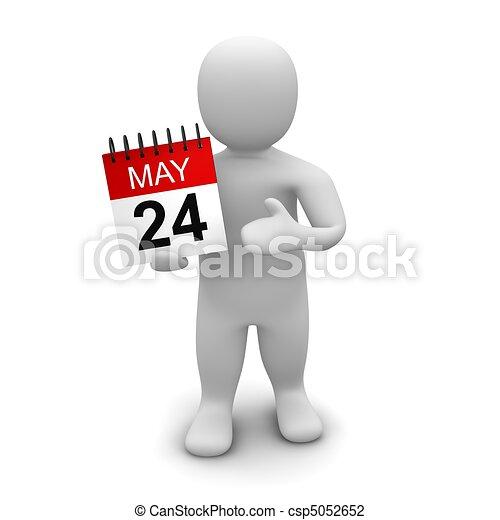 Man holding calendar. 3d rendered illustration isolated on white. - csp5052652