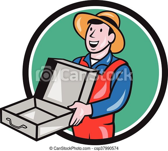 man holding empty open suitcase circle cartoon illustration rh canstockphoto com  free open suitcase clipart