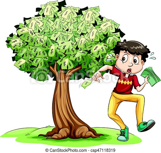 man holding money and money tree in background illustration vector rh canstockphoto com