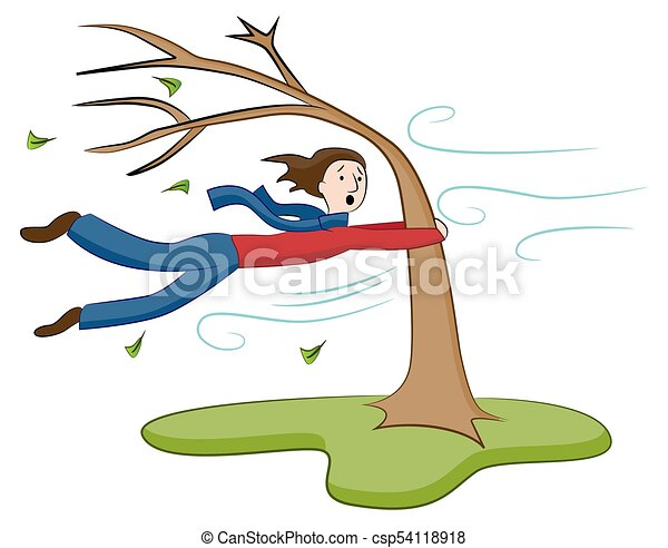 an image of a man holding on to tree on windy day Wind Clip Art Foggy' Clip Art