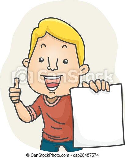 Man Holding Paper - csp28487574