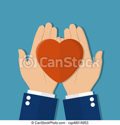 Man holds a heart in his hands. - csp48016953