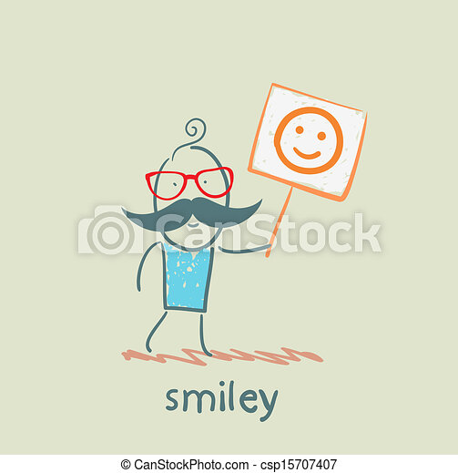man holds a poster with a smiley - csp15707407