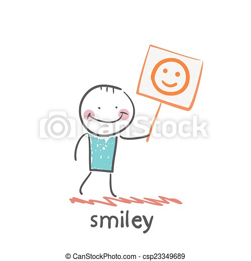 man holds a poster with a smiley - csp23349689