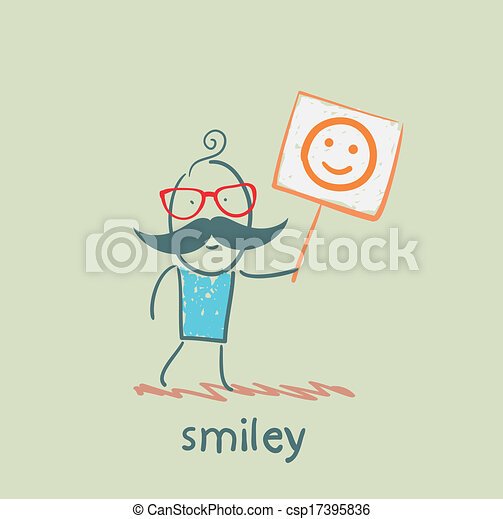 man holds a poster with a smiley - csp17395836