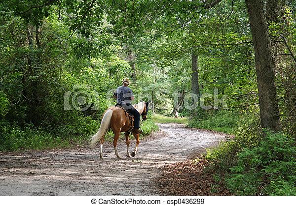 Man Horseback Riding - csp0436299