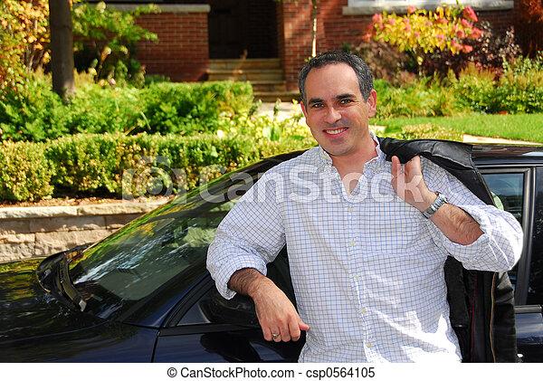 Man house car - csp0564105