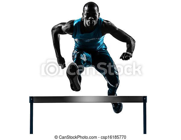 man hurdler runner  silhouette - csp16185770