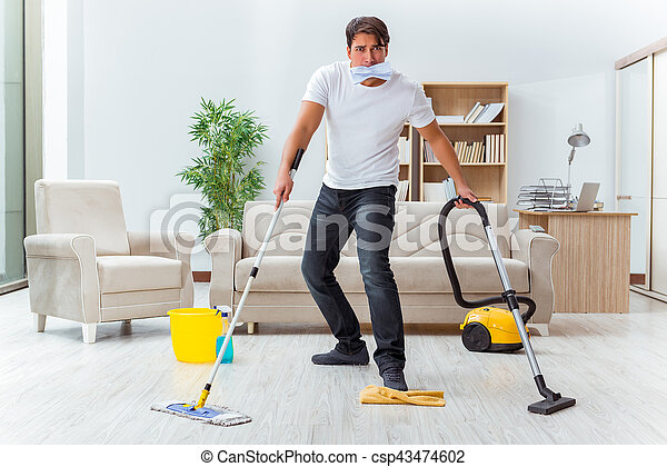 man husband cleaning the house helping wife stock photography search pictures and photo. Black Bedroom Furniture Sets. Home Design Ideas