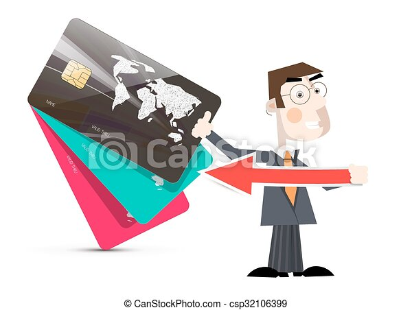 Man Illustration with Credit Cards Vector - csp32106399