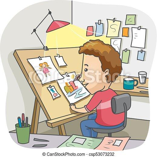 man illustrator drawing board home studio illustration vectors rh canstockphoto com illustrator clipart illustrator clip art tutorial