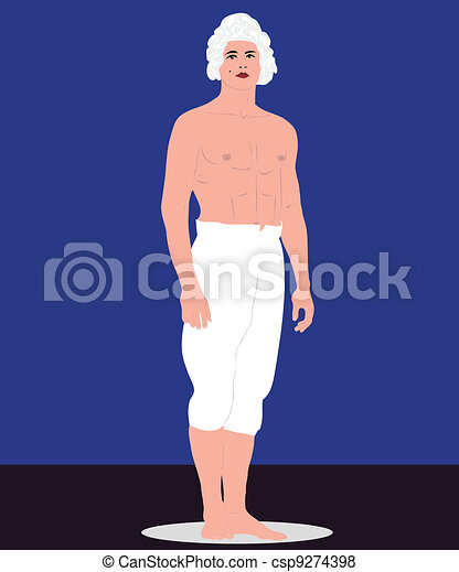 man in a bare-chested in pants - csp9274398